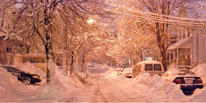 photo of a residential street in Malden, Massachusetts, after a heavy snowfall