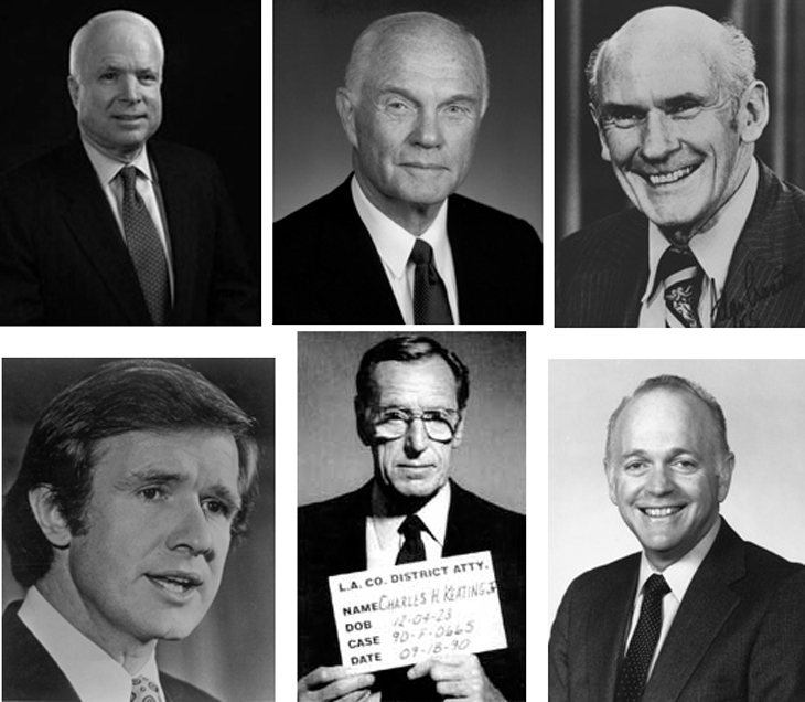 black-and-white head shots of Senators John McCain, John Glenn, Alan Cranston, Dennis DeConcini, and Donald W. Riegle, Jr., and a mugshot of Charles Keating, Jr.