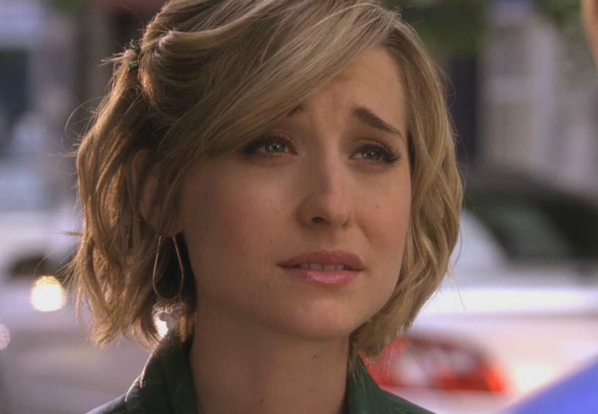 closeup screenshot of actress Allison Mack in season 9, episode 8, of the CW series Smallville, 2009
