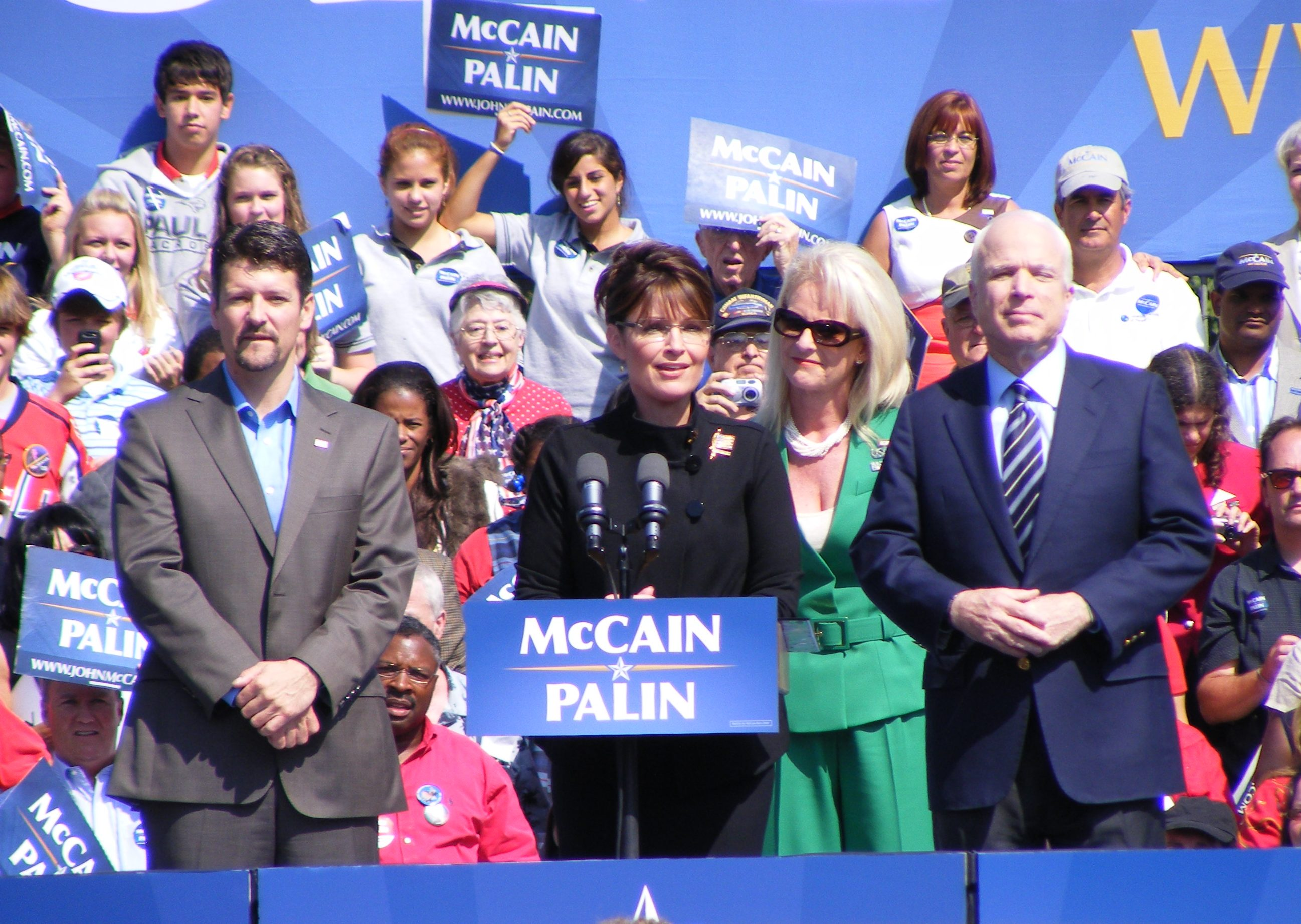 color photo of Alaska Gov. Sarah Palin, U.S. Sen. John McCain, and their spouses at a campaign appearance in Virginia on September 10, 2008