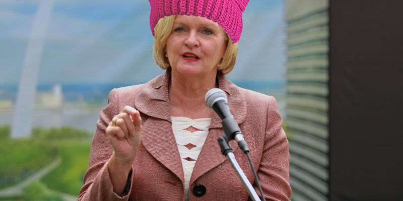 clumsily Photoshopped image of U.S. Senator Claire McCaskill, Democrat of Missouri, wearing a pink pussy hat
