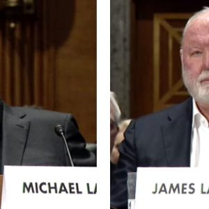 video screenshots of former Backpage.com owners Michael Lacey and Jim Larkin at a 2017 hearing of the U.S. Senate's Permanent Subcommittee on Investigations