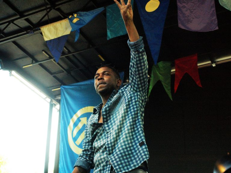 Photo of rapper Kendrick Lamar onstage at the Pitchfork Music Festival 2012