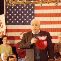 Photoshopped to include a prominently placed pitcher full of strawberry Kool-Aid: U.S. Sen. John McCain at a VFW hall in Merrimack, New Hampshire, during the runup to the 2008 Republican presidential primary