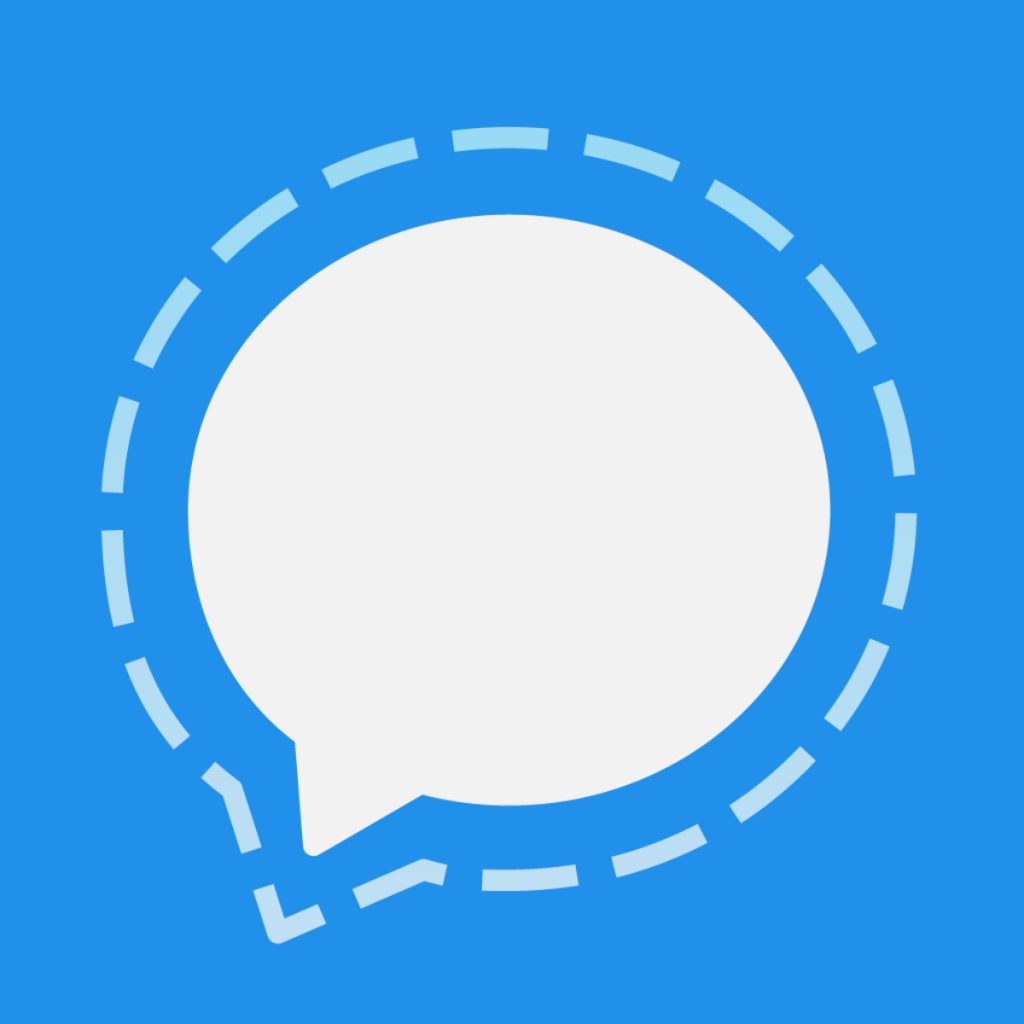 Icon for the messaging app Signal, which looks like a white dialogue bubble on a blue background.