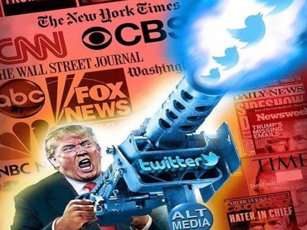 Illustration of Trump firing an M-60 machine gun that fires off images of the Twitter bird symbol.