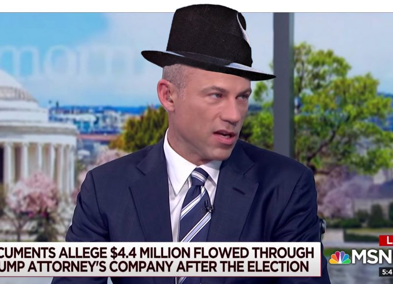 screenshot of attorney Michael Avenatti during a May 9, 2018, interview on the MSNBC news program 'Morning Joe' ... wearing Frank Sinatra's hat courtesy of some cheesy Photoshop-ing