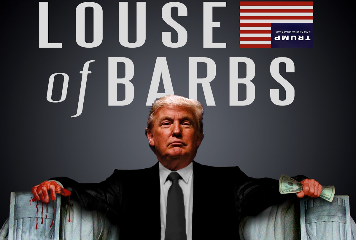 photo-iIlustration showing Donnald Trump photoshopped in place of Lincoln in the Lincoln Memorial statue, with the title 'Louse of Barbs,' a pun on the HBO series 'House of Cards'