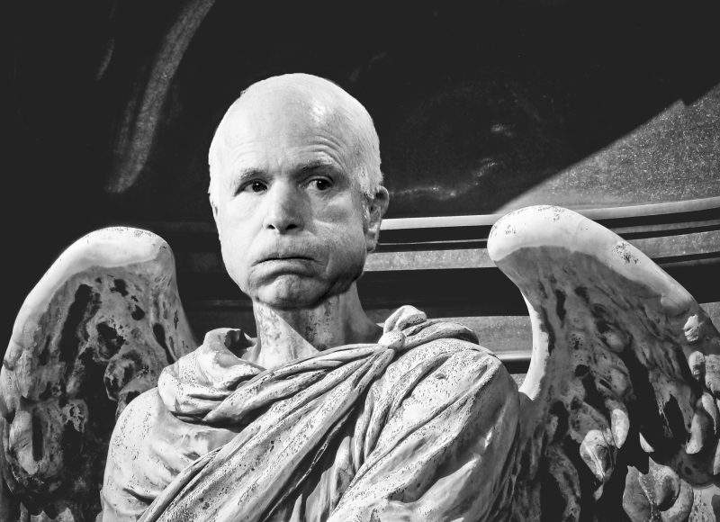 black-and-white image of a sculpture, showing the head and shoulders of an angel -- only with John McCain's head Photoshopped in where the angel's head ought to be