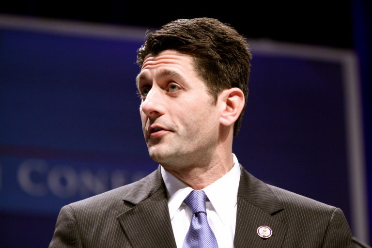Color photo of U.S. House Speaker Paul Ryan in a suit and tie, shot from the shoulders up