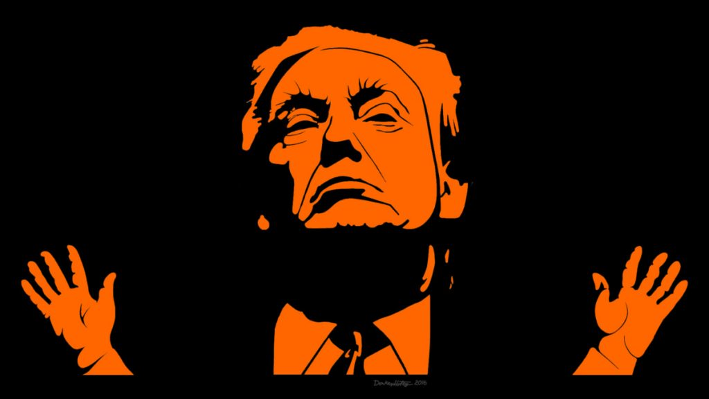 Image of an orange-on-black stencil of Donald Trump, raising his tiny hands.