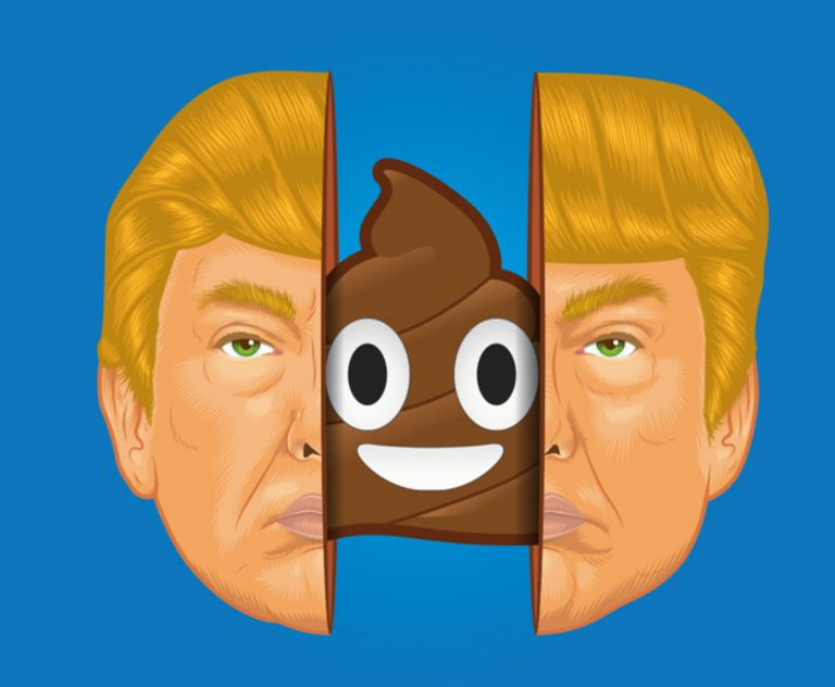 Illustration depicting Donald Trump's face opening up to reveal a smiling poo emoji