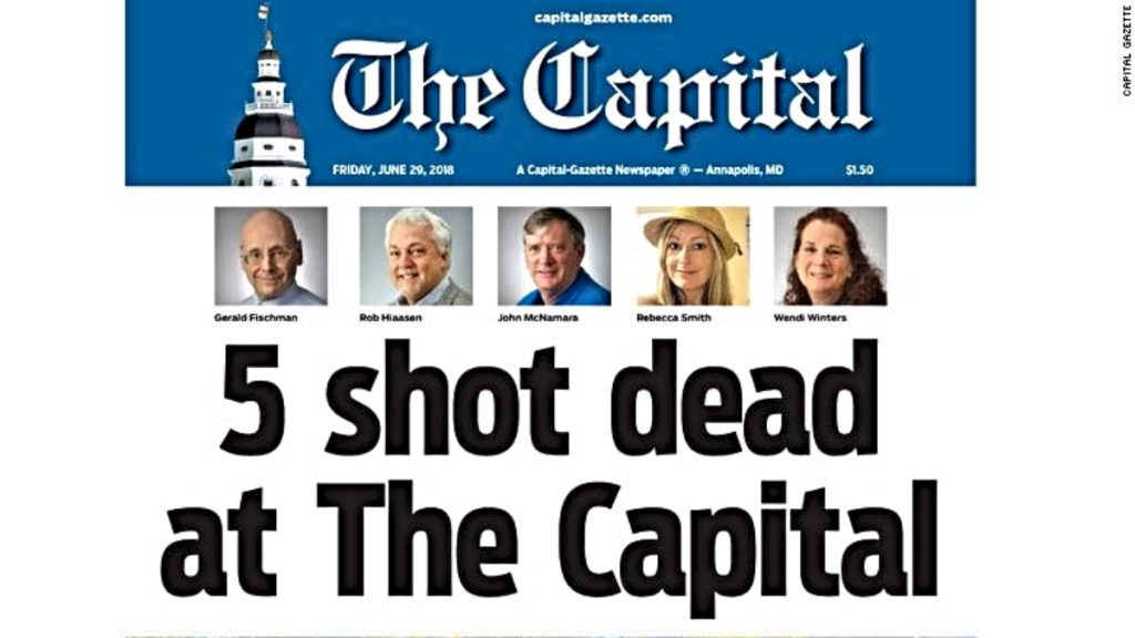 "Front page of Capital Gazette for June 29, 2018 with headline ""5 Shot Dead at The Capital"""