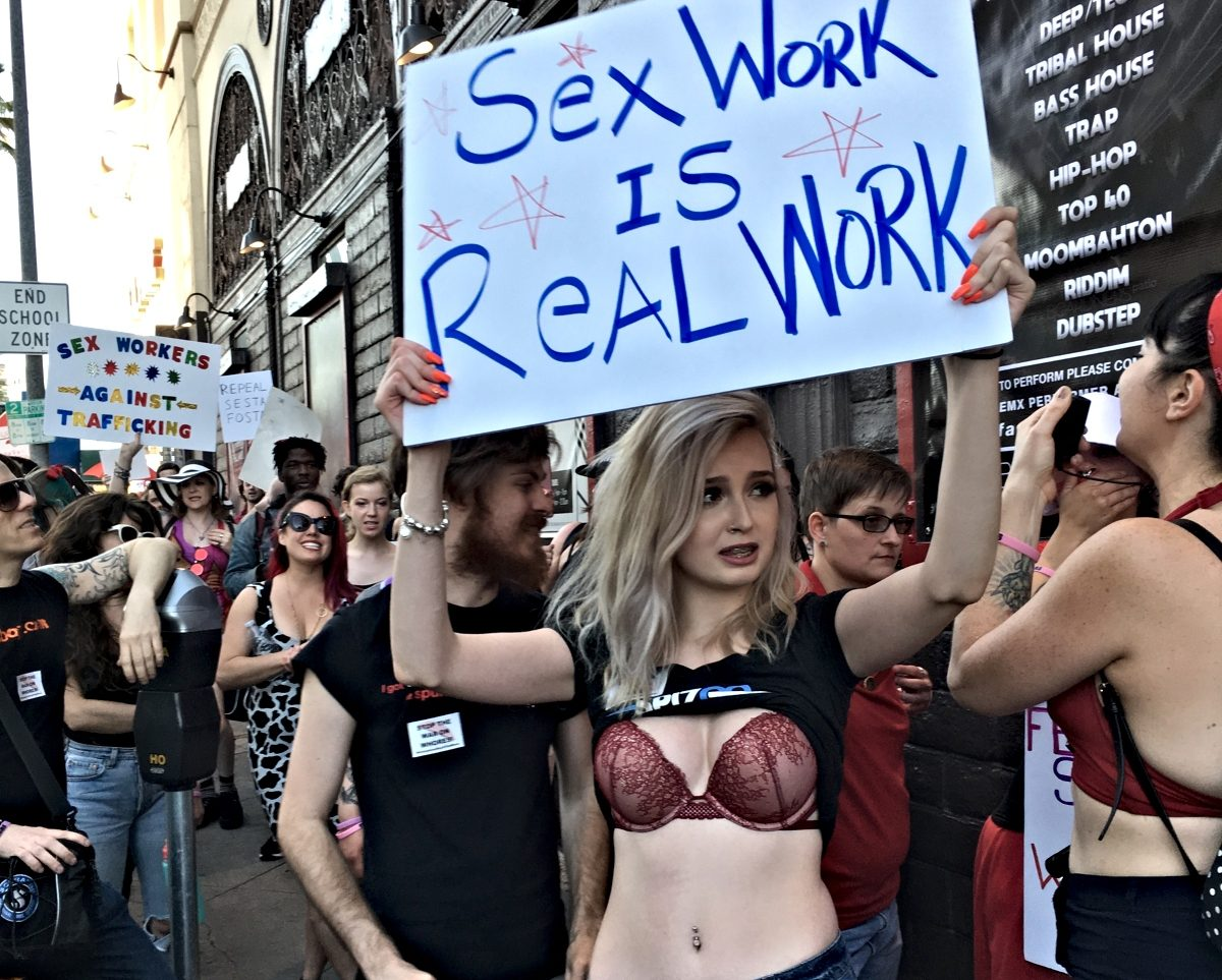 Photo of demonstrators at a pro-sex worker march in L.A.