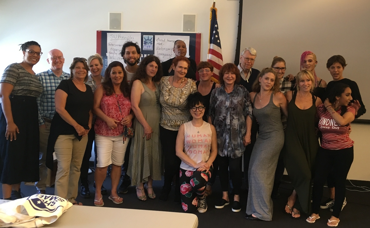 a group photo of attendees at the June 2018 sex workers summit in Los Angeles, California