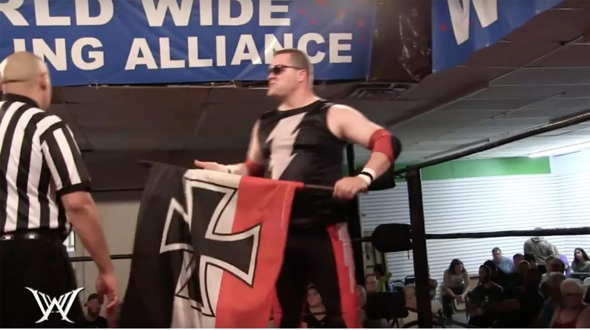YouTube screenshot of Kevin Bean (Blitzkrieg the German Juggernaut) at a World Wide Wrestling Alliance production