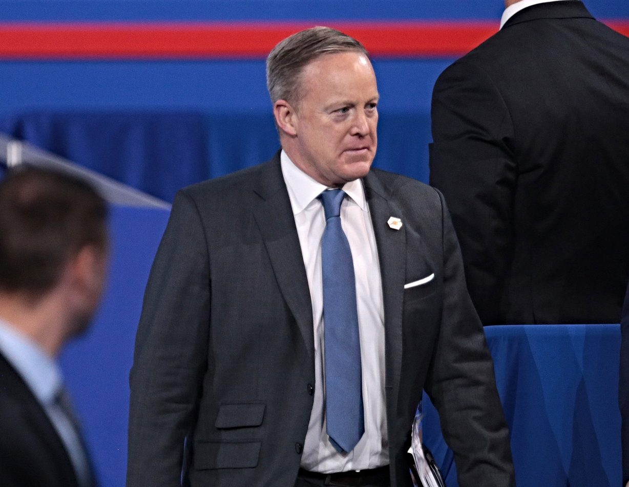 Photo of Sean Spicer onstage at the 2017 Conservative Political Action Conference (CPAC)