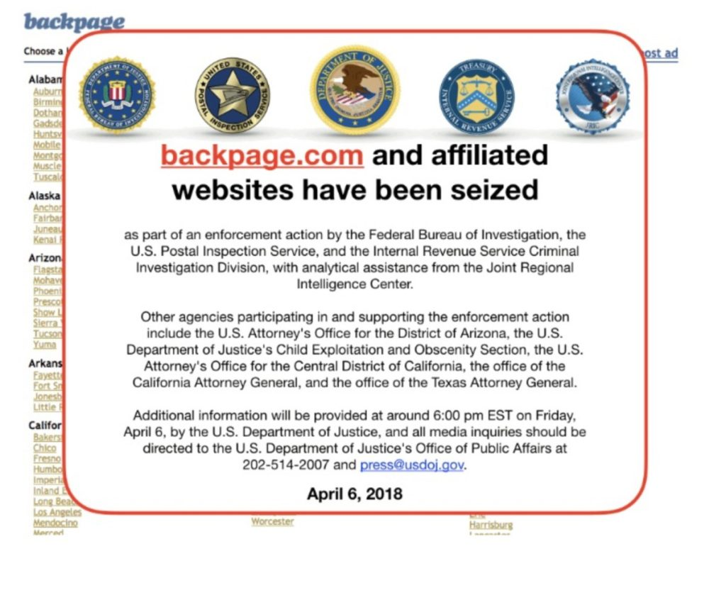 April 6, 2018 notice indicating that the federal government has seized backpage.com and affiliated sites