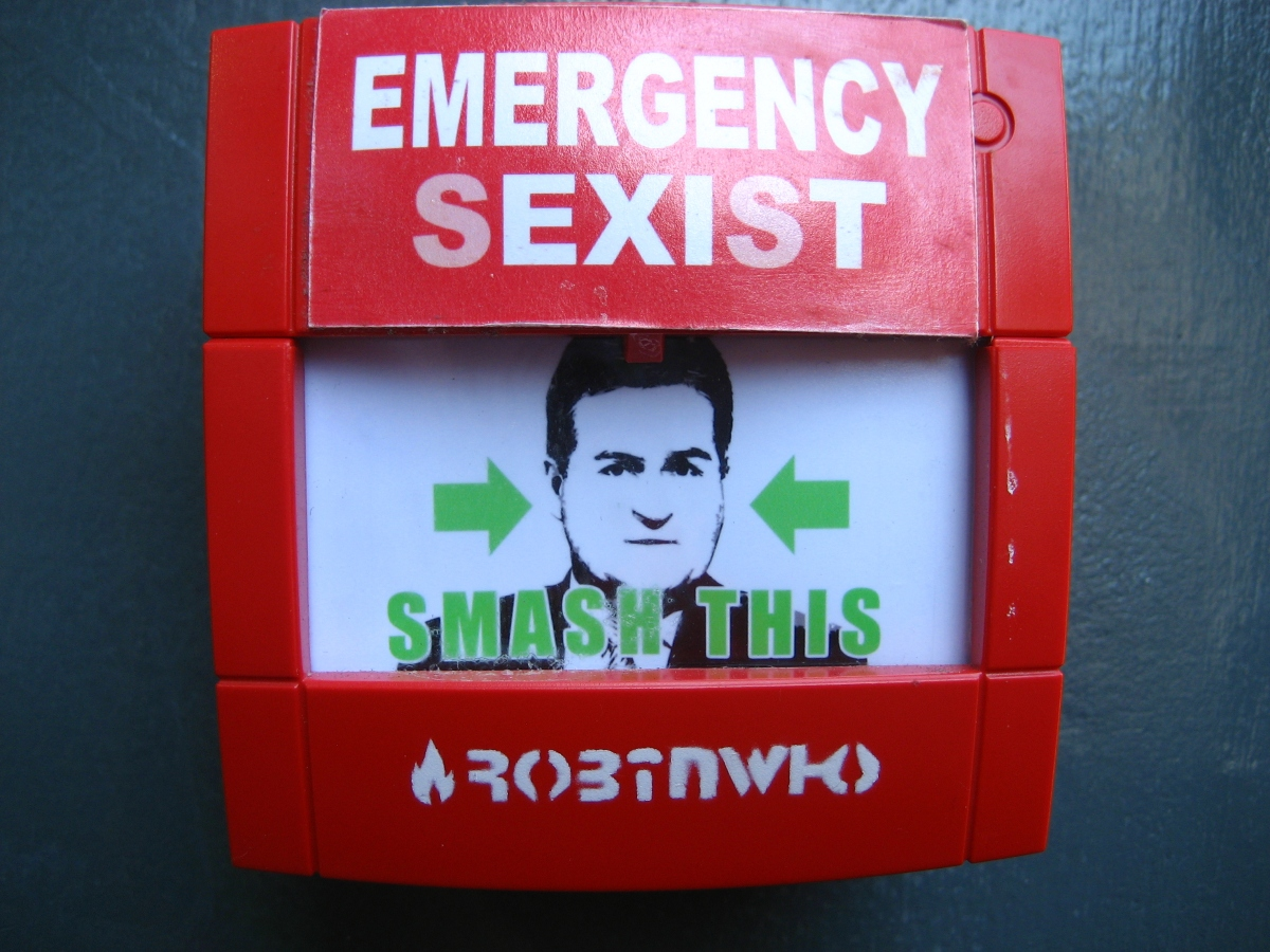 Photo of a red 'in case of emergency'-type box featuring a stencil of a man's face and a stencil that reads: 'Emergency Sexist: Smash This'