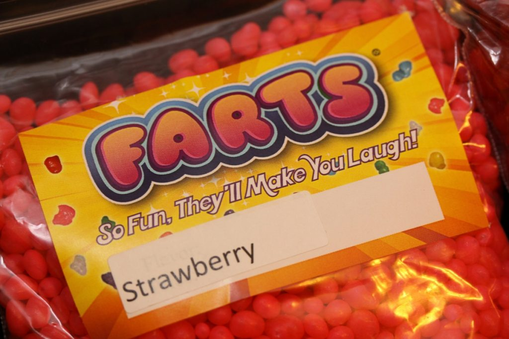 Photo of a bag of candy with a label that reads 'FARTS: So fun they'll make you laugh!';
