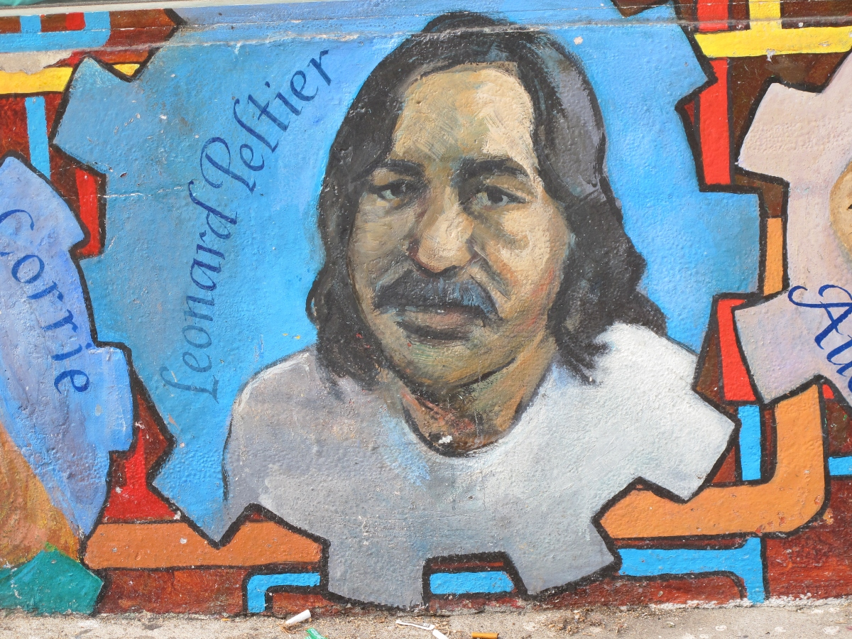 Image of Native American activist and convicted murderer Leonard Peltier, part of a mural in San Francisco's Mission District