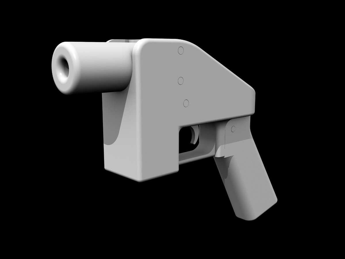 Image of a chunky, white downloadable pistol displayed against a black background