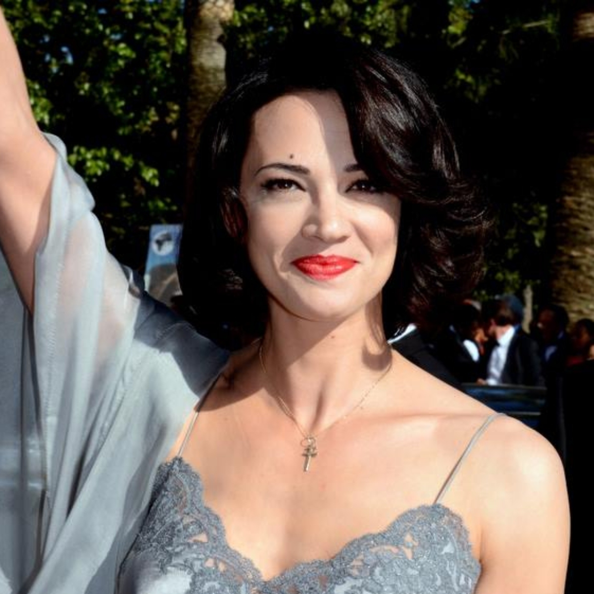 Photo of actress Asia Argento at Cannes in a dress with spaghetti straps.