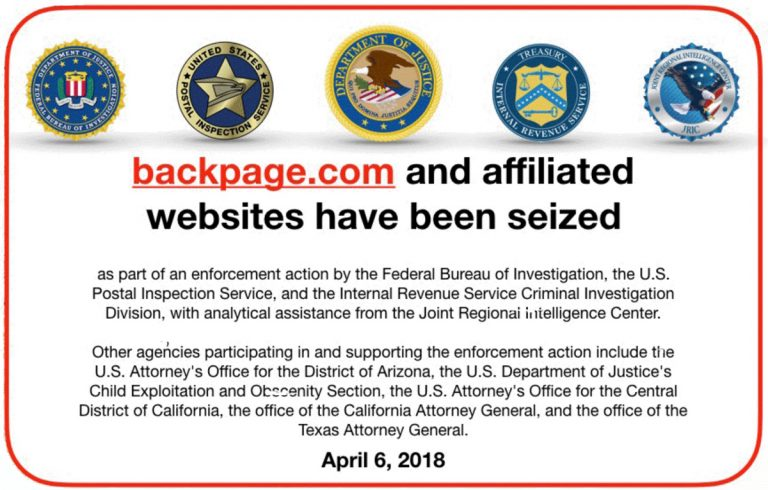 Front Page Confidential photoillustration that depicts part of the message the FBI used to obscure the Backpage.com homepage when the agency seized the website on April 6, 2018
