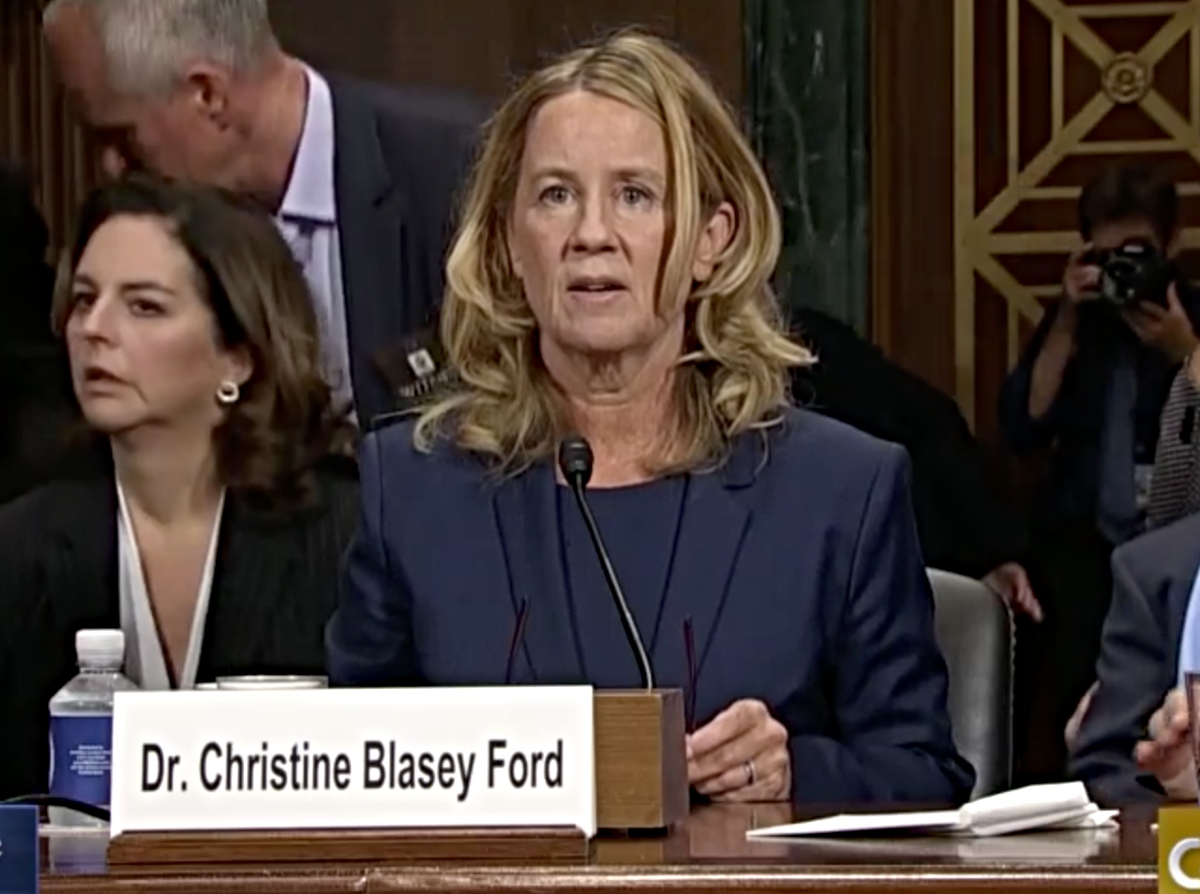 Christine Blasey Ford testifying before the U.S. Senate's Judiciary Committee on Septemter 27, 2018