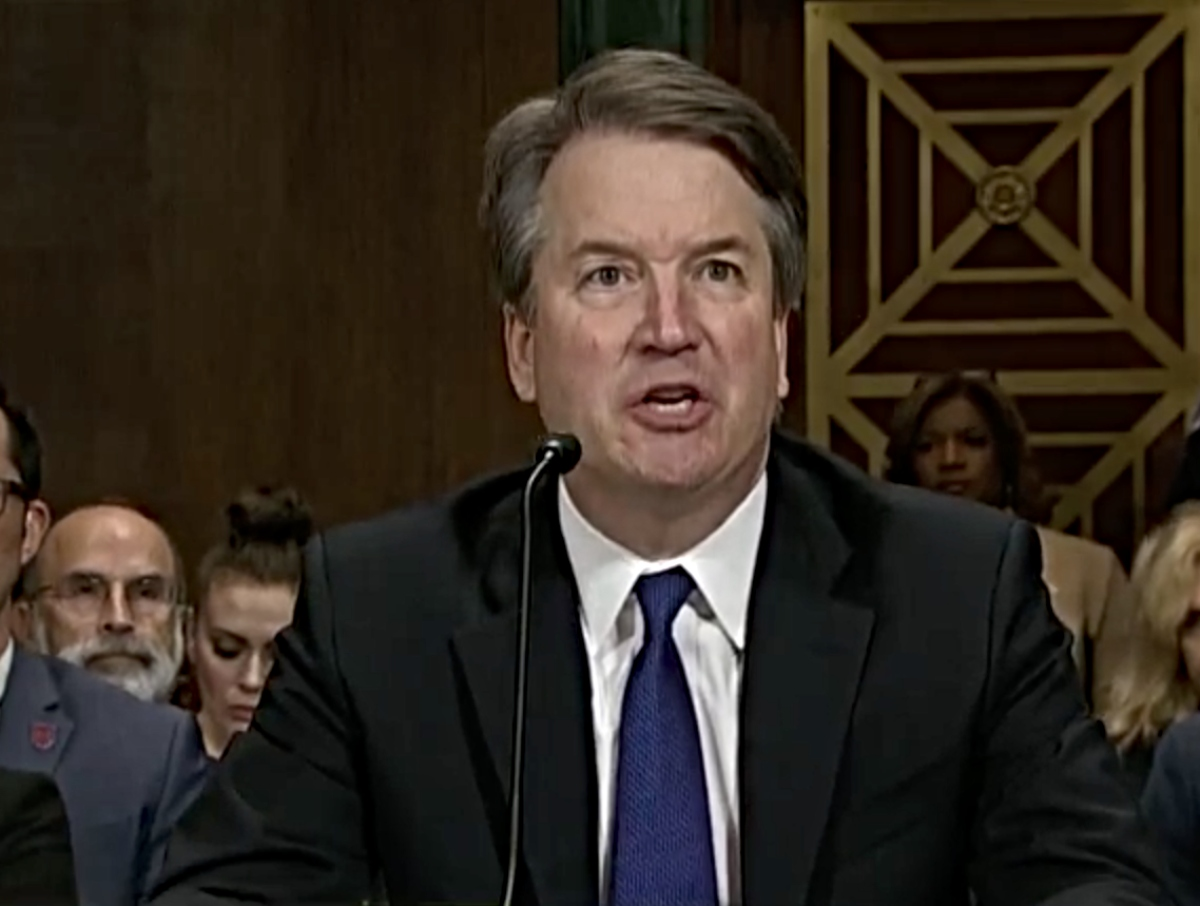 An angry Brett Kavanaugh testifies during confirmation hearing of the U.S. Senate's Judiciary Committee on September 27, 2018