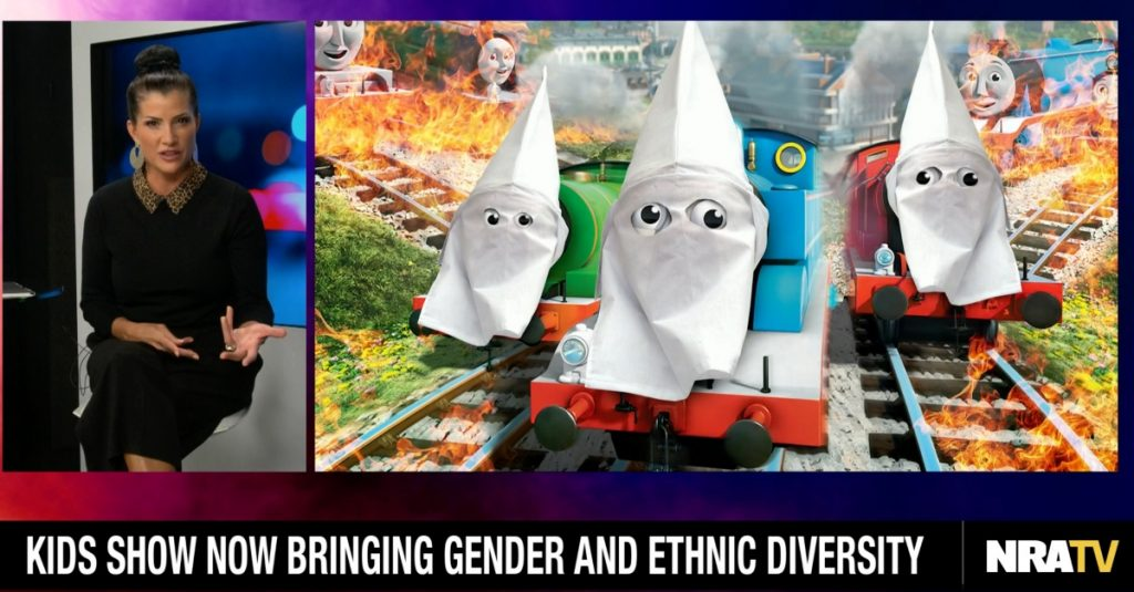 "Screenshot of Dana Loesch and image of animated show ""Thomas & Friends"" with train characters in KKK hoods."