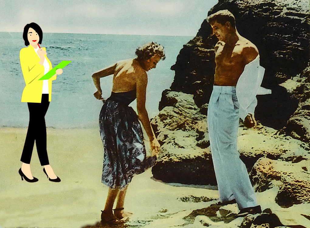 mashup of a colorized image of Burt Lancaster and Deborah Kerr undressing on the beach in From Here to Eternity, with brightly hued clip art of a female researcher with a clipboard in the background