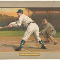 Hand-colored chromolithograph showing a rear view of Ed Lennox of the Brooklyn Superbas, standing at home plate, batting right-handed. Issued by the American Tobacco Company in 1911.