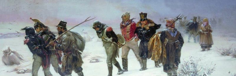 1874 painting entitled 'French retreat from Russia in 1812,' by Illarion Mikhailovich Pryanishnikov, showing French soldiers stumbling through the snow