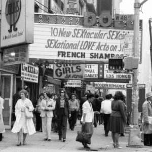 b&w street scene, Times Square, New York, circa 1981-82; photo by Vaticanus via Flickr