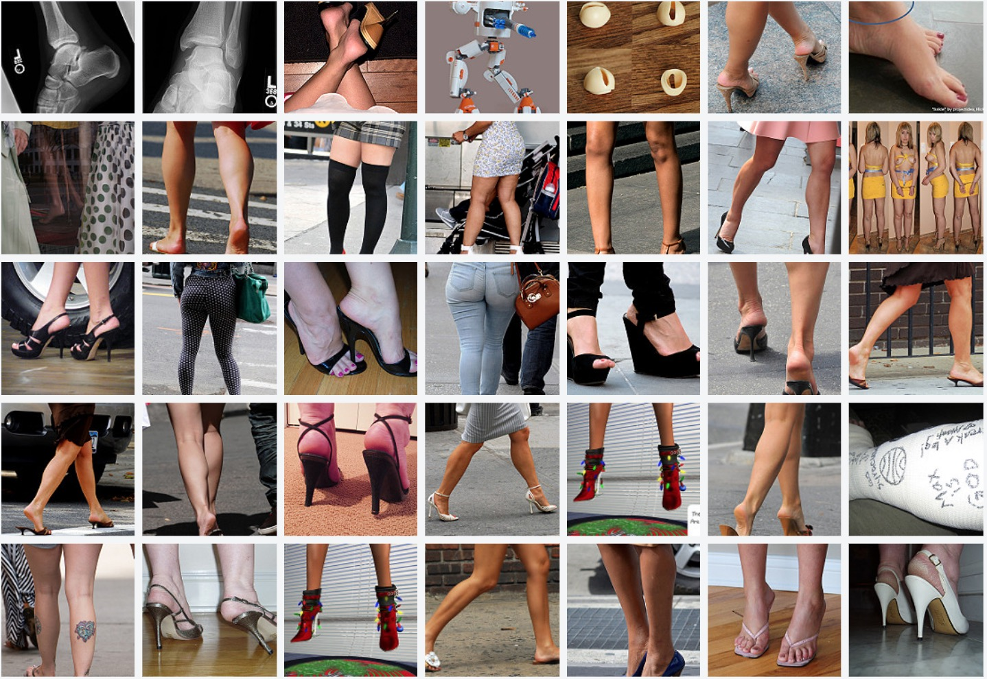 "A horizontal grid showing thumbnails of a selection of photos tagged ""ankle"" on Flickr"