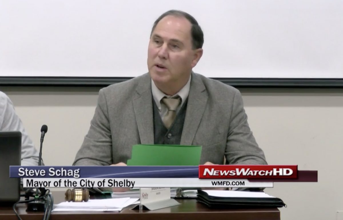 WMFD.com screenshot of Steven Schag, mayor of Shelby, Ohio, reading aloud a proclamation