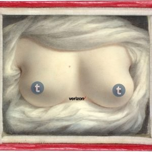 Sarah Goodridge's 1828 miniature painting, 'Beauty Revealed,' depicting a woman's breasts, enclosed in its simple wooden frame painted bright red. Photoshopped to superimpose Tumblr's lowercase 't' logo over each nipple, and Verizon's check-mark logo (black type, red check mark) between the two breasts