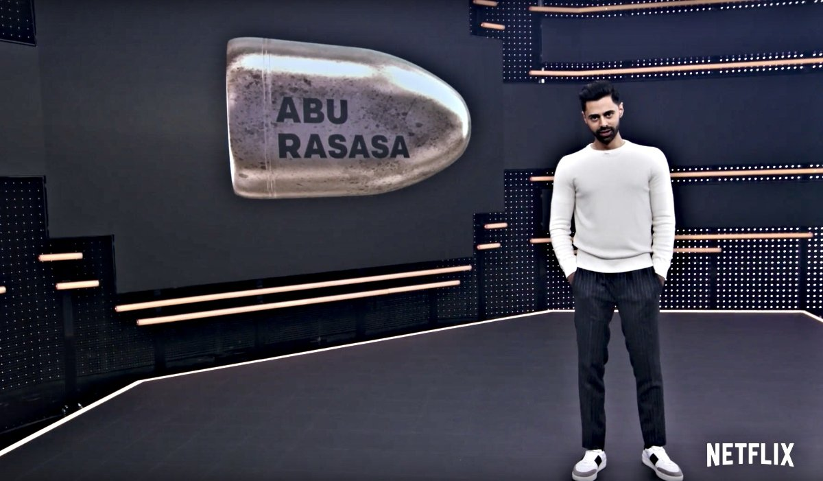 Comedian Hasan Minhaj on the set of his Netflix show, explaining the meaning of the Saudis' nickname for Crown Prince Mohammad bin Salman