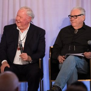 Veteran newspapermen Jim Larkin and Michael Lacey speak at a panel discussion as part of Reason Weekend 2019 at the Arizona Biltmore in Phoenix