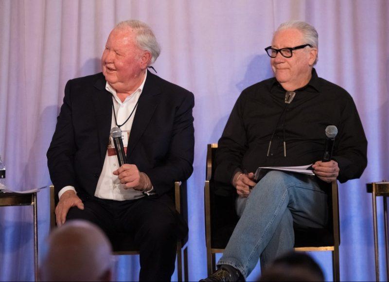Veteran newspapermen Jim Larkin and Michael Lacey speak at a panel discussion as part of Reason Weekend 2019 at the Arizona Biltmore in Phoenix