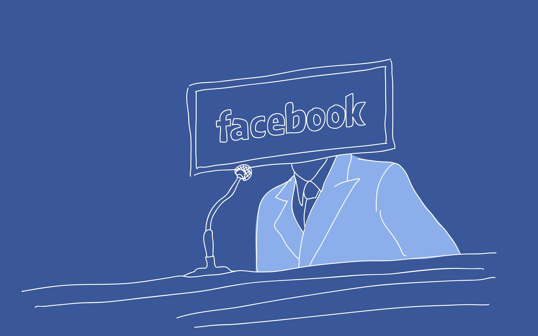 Blue illustration of a man in a suit, his face replaced by the Facebook logo.
