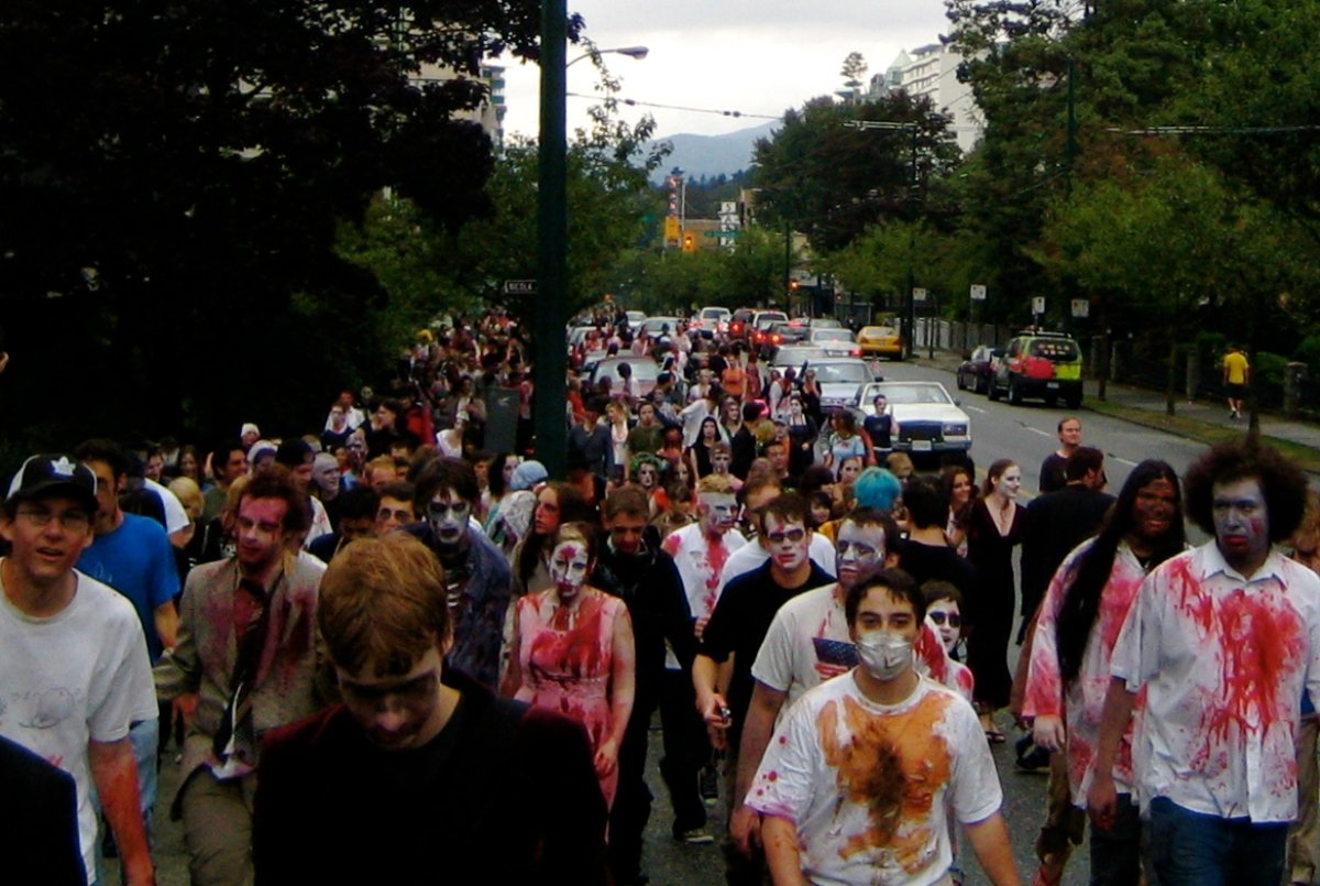 Parade of zombies.