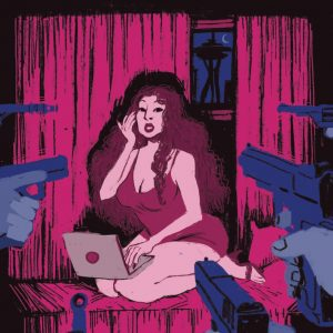 "Illustration taken from film poster for ""War on Whores"""