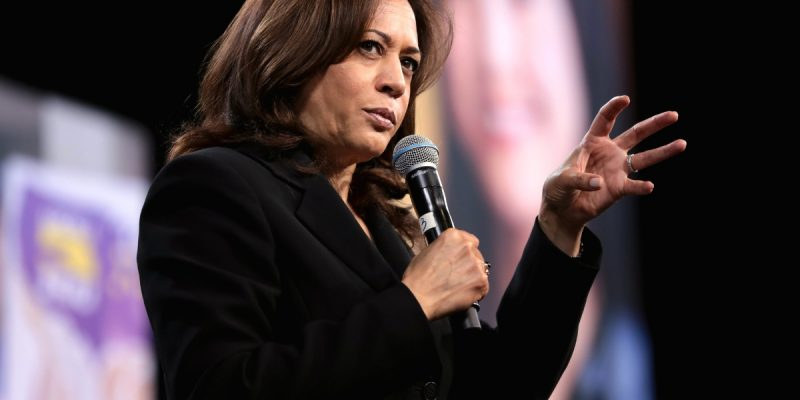 Photo of Kamala Harris onstage.